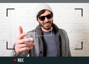 internet video blogger recording