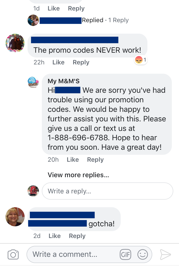 my m&ms customer service example